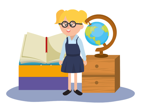 elementary school girl with world map and book cartoon vector illustration graphic design