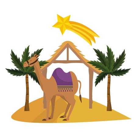 christmas nativity scene camel cartoon vector illustration graphic design Ilustración de vector