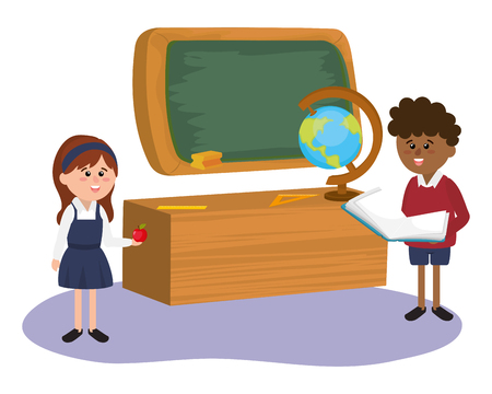 elementary school students with desk and world map in front board cartoon vector illustration graphic design