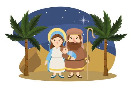 christmas nativity scene with joseph and mary with jesus cartoon Stock Illustratie