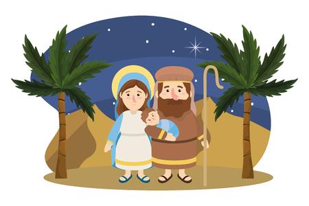christmas nativity scene with joseph and mary with jesus cartoon Illustration