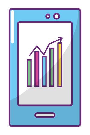 Bourse en ligne téléphone portable cartoon vector illustration graphic design
