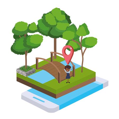 isometric park activity with girl gps location crossing bridge cartoon Ilustração