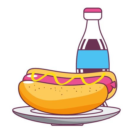 fast food hot dog with coke cartoon vector illustration graphic design