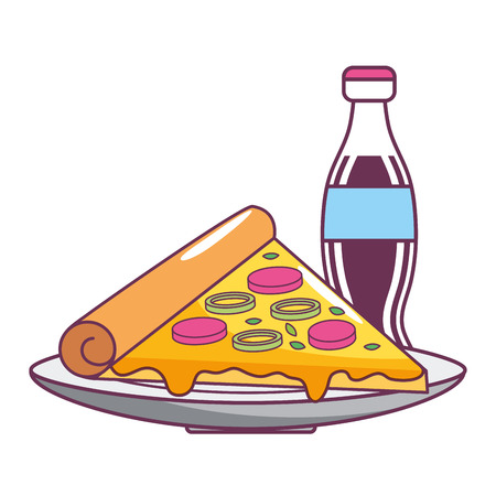 fast food pizza with coke cartoon vector illustration graphic design