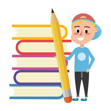 elementary school student boy with big pencil and books cartoon vector illustration graphic design
