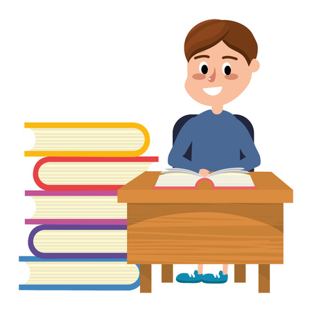elementary school student boy on desk with books cartoon vector illustration graphic design Stock Illustratie