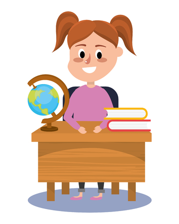 elementary school girl cartoon vector illustration graphic design Stock Illustratie