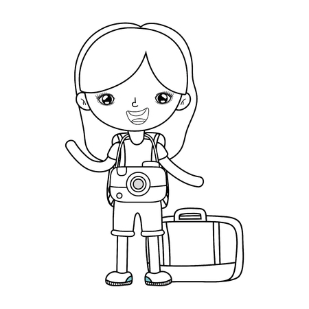 little tourist girl with camera photographic vector illustration design