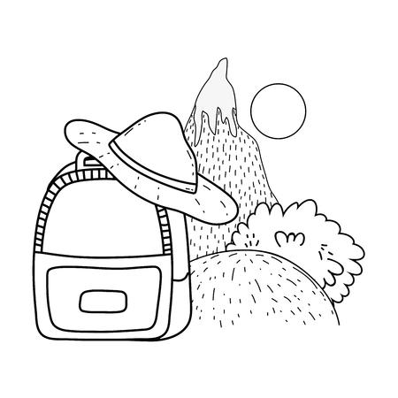 adventure landscape with snow mountain vector illustration design