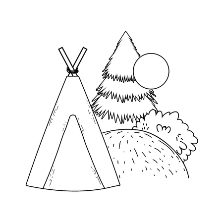 indian camping tent in the landscape vector illustration design