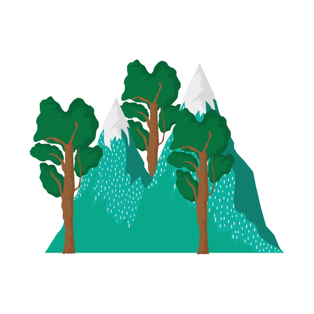 adventure landscape with snow mountain vector illustration design