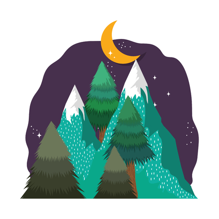 landscape with snow mountain in the night vector illustration design