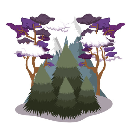 pines forest landscape scene vector illustration design