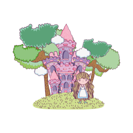 cute little fairy with castle character vector illustration design