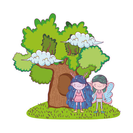 cute little fairies couple with tree vector illustration design