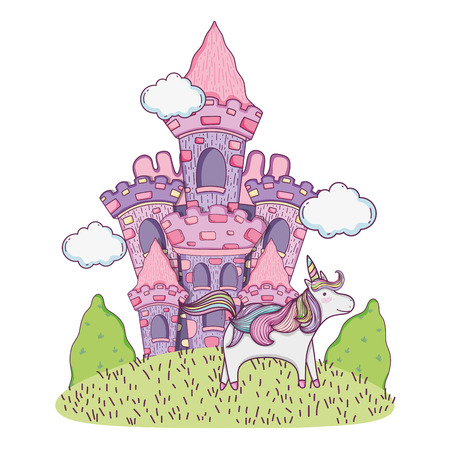 fairytale castle in the field with unicorn vector illustration design