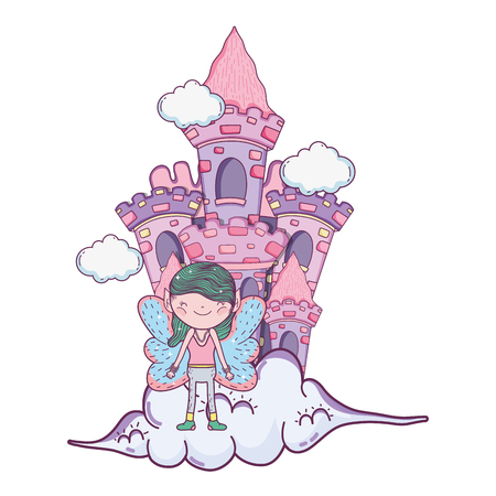 cute little fairy with castle in the clouds vector illustration design
