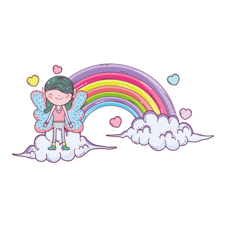cute little fairy with rainbow and clouds vector illustration design