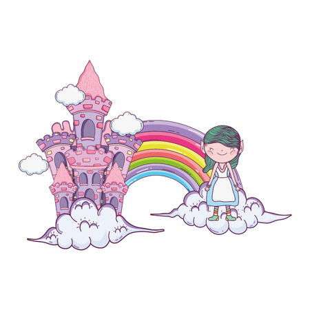 cute little fairy with rainbow and castle vector illustration design