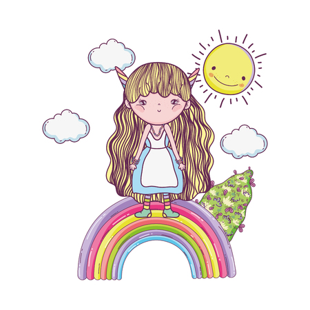 cute little fairy with rainbow and sun vector illustration design