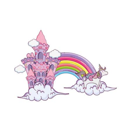 fairytale castle with rainbow and unicorns vector illustration design