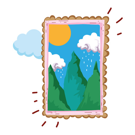 pines forest landscape in square frame vector illustration design