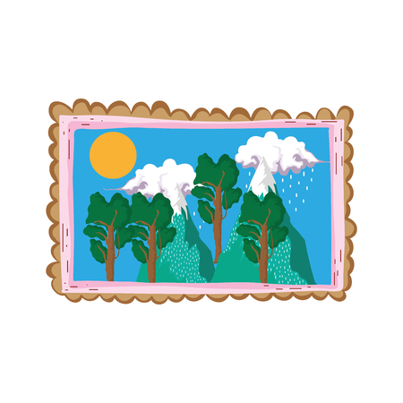 landscape with snow mountain square frame vector illustration design  イラスト・ベクター素材