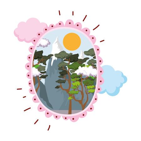 landscape with snow mountain circular frame vector illustration design