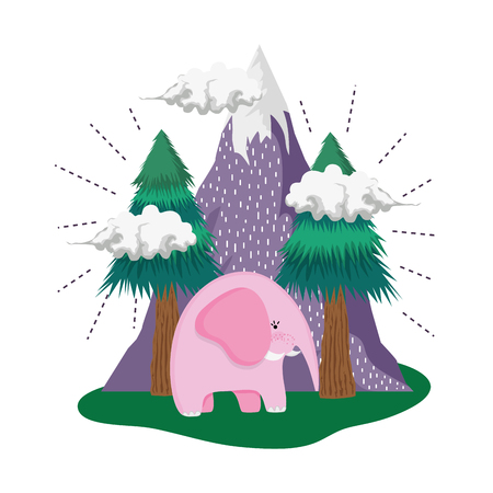 cute elephant pink in the landscape vector illustration design