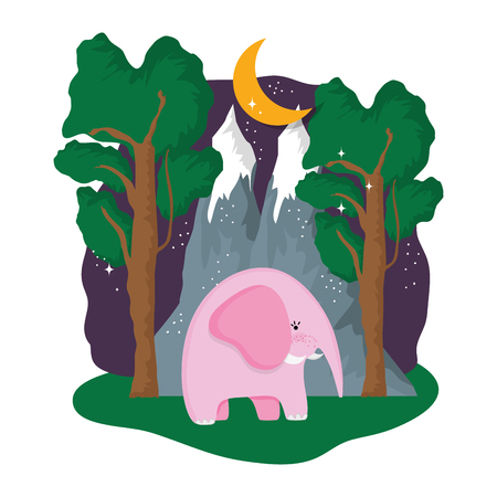 elephant pink in the landscape on the night design