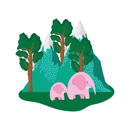 cute elephants pink couple in the landscape vector illustration design