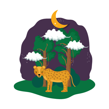 cute cheetah in the landscape on the night vector illustration design