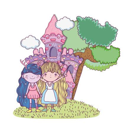 cute little fairies couple with castle vector illustration design