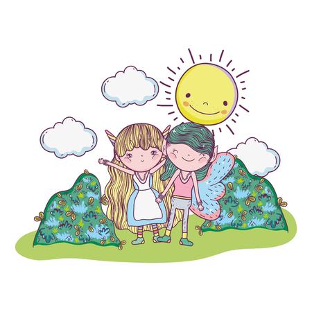 cute little fairies couple in the camp vector illustration design