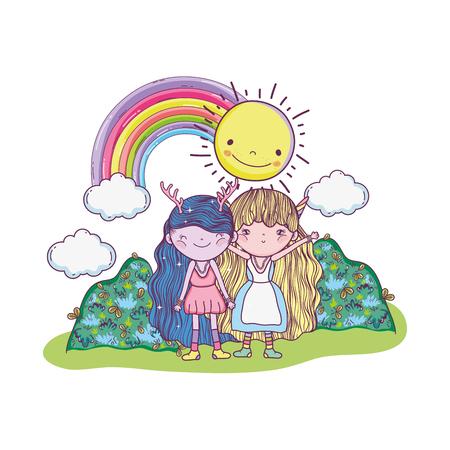 cute little fairies couple with rainbow and sun vector illustration design