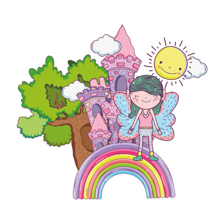 cute little fairy with castle and rainbow vector illustration design