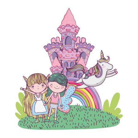 cute little fairies couple with castle and rainbow vector illustration design