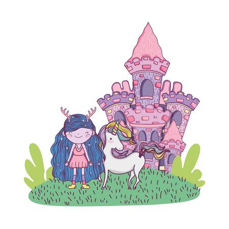 cute little fairy with castle and unicorn vector illustration design