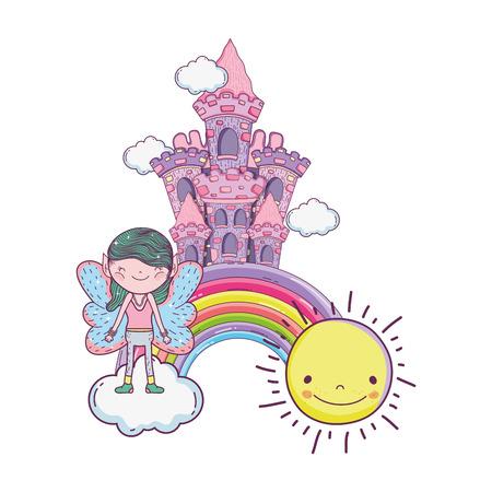 cute little fairy with castle and rainbow vector illustration design