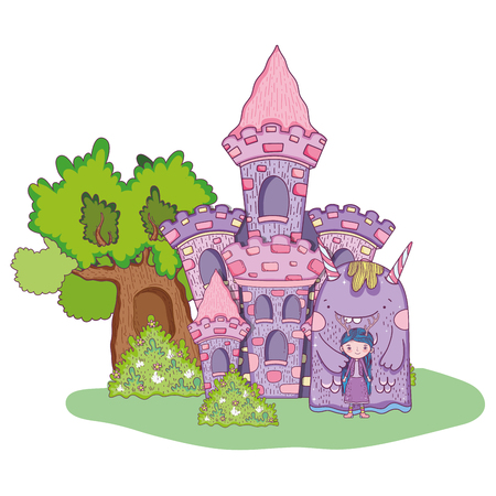 little fairy with monster in the castle
