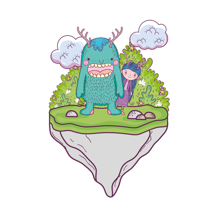 little fairy with monster in the field vector illustration design Ilustração