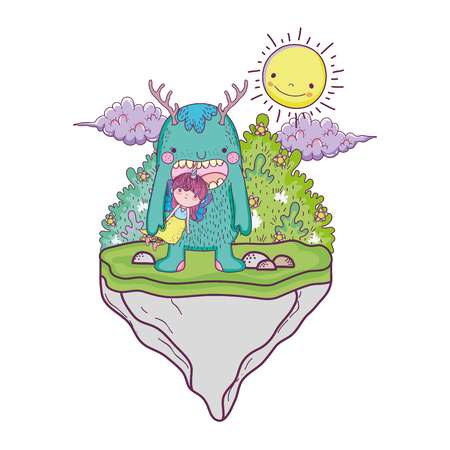 little fairy with monster in the field vector illustration design Stock Illustratie