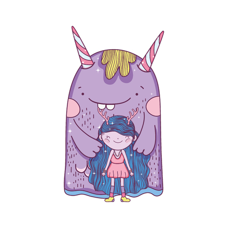little fairy with monster characters vector illustration design  イラスト・ベクター素材