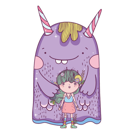 little fairy with monster characters  イラスト・ベクター素材