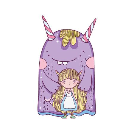 little fairy with monster characters vector illustration design Ilustração
