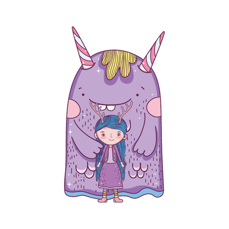 little fairy with monster characters vector illustration design Imagens - 127559246