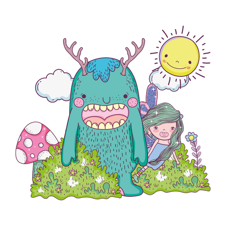 little fairy with monster in the field vector illustration design 일러스트