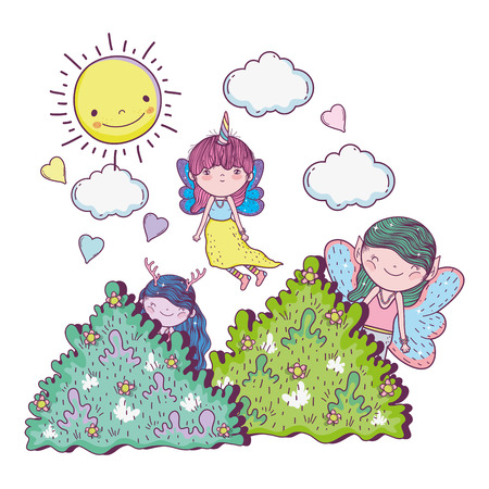cute little fairies group in the field vector illustration design