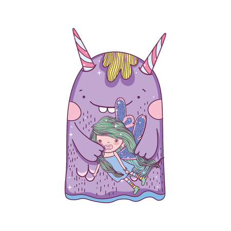 little fairy with monster characters vector illustration design 写真素材 - 127559263